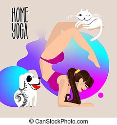 home yoga with pets. Dog and cat with a girl who is standing in the scorpion asana. physical activity at home. girl doing yoga in pose Vrischikasana.