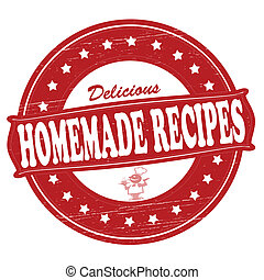Stamp with text homemade recipes inside, vector illustration