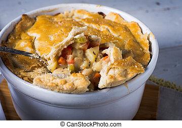 Pot pie vegetarian vegetable healthy baked crust