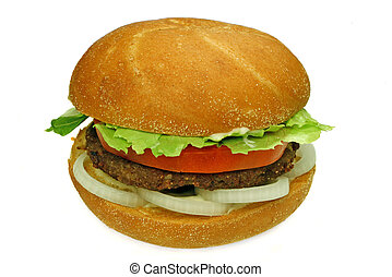 homestyle beef burger with onion rings, tomato and lettuce, ready to eat