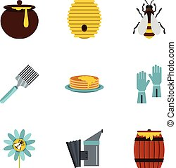 Honey and bee icons set, flat style