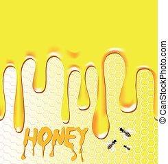 Honey background. Honeycomb, bee, wax. Design element. Viscous liquid.