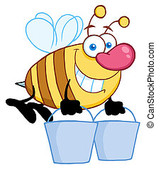 Honey Bee Flying With A Buckets