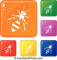 Honey bee icons set vector color