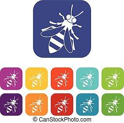 Honey bee icons set
