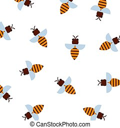 Honey bee pattern vector illustration. Pattern with flying bees on white background. Cartoon bees for textile, honey products wrapping.
