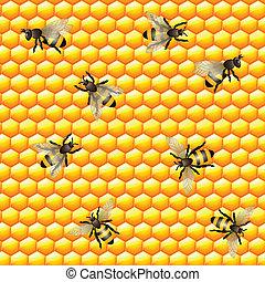 Honey bee seamless pattern