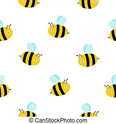 honey bee seamless pattern vector honeycomb scarf isolated cartoon repeat background tile wallpaper illustration