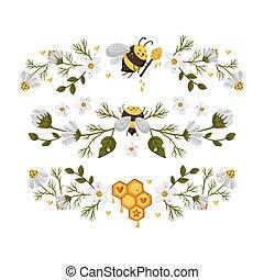Honey bee vector border frame.