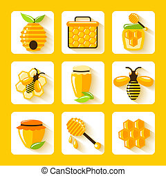Honey Flat Icons Set