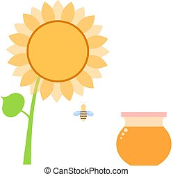 Honey in a can of bee and sunflower .