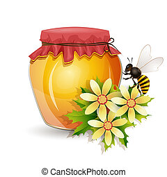 Honey jar with bee and flowers isolated on white