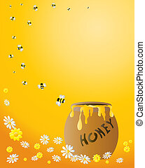 an illustration of a honey jar with a spiral of bees flying away on an orange background with flowers