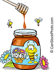 honey jar with wooden spoon and honey dripping