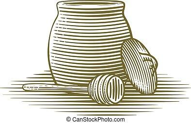Woodcut illustration of a honey jar.