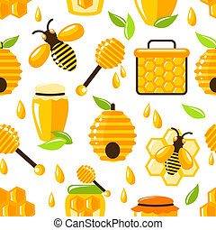 Decorative honey bee hive and cell food seamless pattern vector illustration
