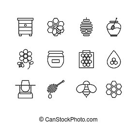 Honey thin line icons set