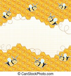 Honeycomb and bees background.