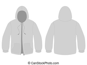 Hoody with zipper vector template.