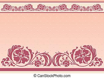 Horizontal floral frame in pink