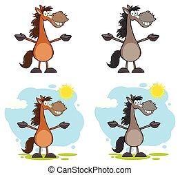 Horse Cartoon Mascot Character Collection