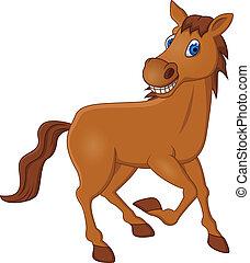 Vector illustration of horse cartoon running