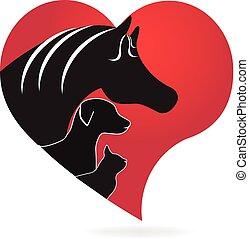 Horse cat and dog heart love shape logo