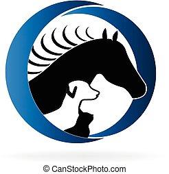 Horse dog and cat logo