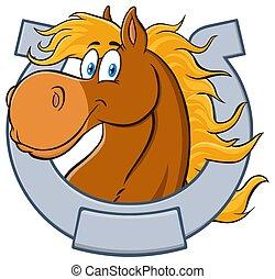 Horse Head Cartoon Mascot Character With Horseshoe.