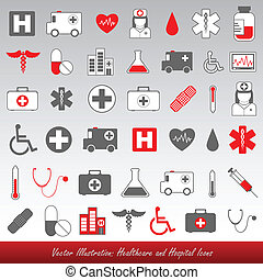 hospital and healthcare icons