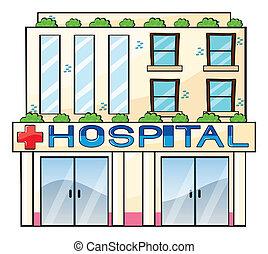 Detailed illustration of hospital building on white