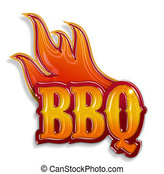hot barbecue label isolated on white background