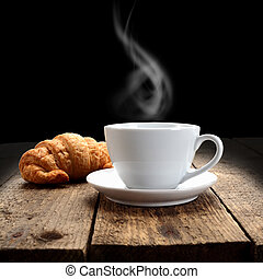 hot coffee and croissant