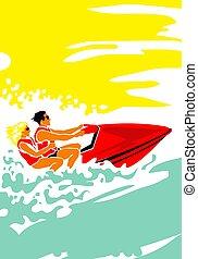 Hot day at sea. Man and woman on aquabike.