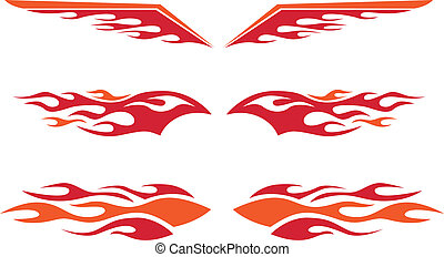 A selection of vector hot rod flames.