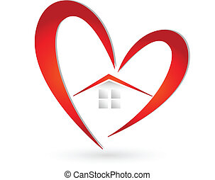 House and heart icon vector