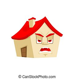 House angry emotion isolated. Evil Home Cartoon Style. Building fierce Vector
