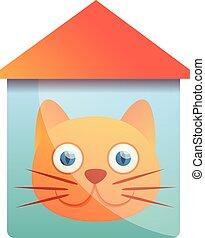 House cat logo, cartoon style