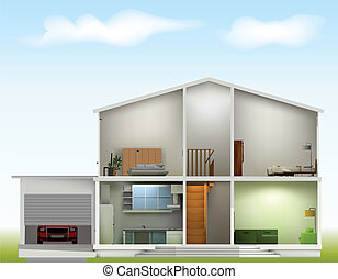 House cut with interiors on against the sky. Vector illustration