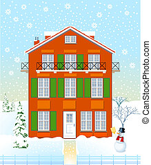 House in the winter time