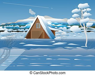 House in the woods in winter