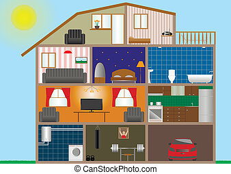 Vector illustration of house interior. Eps-10 format.