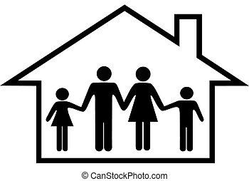 A traditional family mom dad boy girl safe at home in their house.