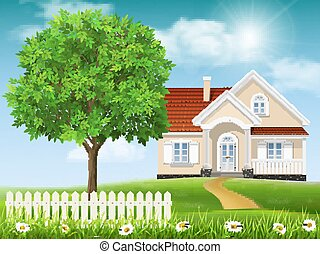 House on a hill and tree