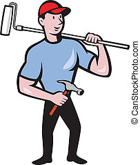 Illustration of a house painter holding paint roller on shoulder holding hammer viewed from front set on isolated white background done in cartoon style.