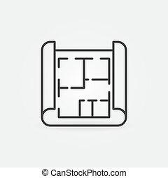 House Plan On Blueprint linear vector concept icon