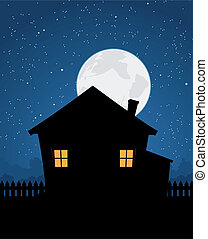 Illustration of a cartoon house by a starry night