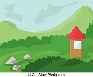 House with Red Roof in the Woods