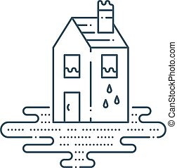 Pipe break, poor plumbing, flooding. Insurance service concept, vector illustration