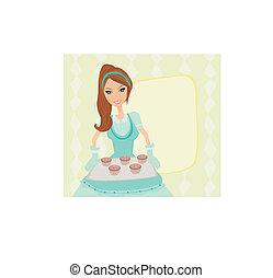 Housewife serving cookies
